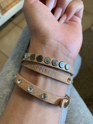 Bracelet en cuir brun foncé-vieux rose