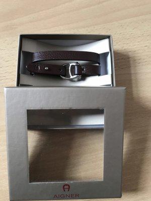 Aigner Lederen armband donkerbruin