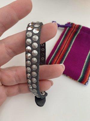B Belt Braccialetto di cuoio grigio-grigio scuro