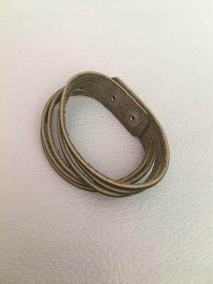 Lederarmband Armband khaki mit Druckverschluss NEU und ungetragen