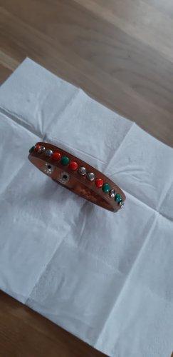Skórzane ozdoby na ręce  srebrny-brązowy