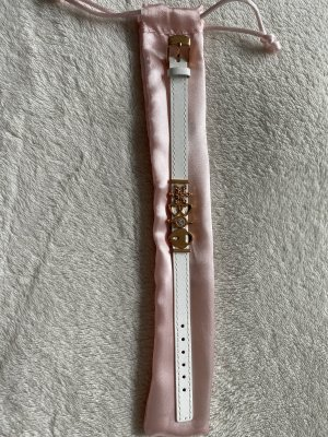 FAYE Bracelet en cuir blanc-or rose