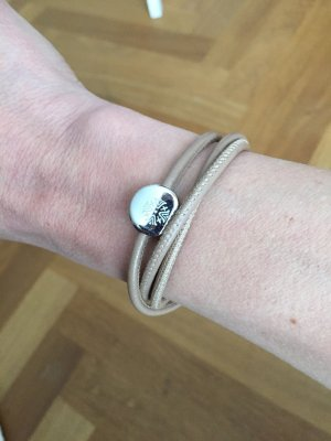 Leather Bracelet silver-colored-beige leather