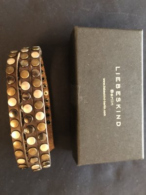 Liebeskind Berlin Bracelet en cuir brun foncé
