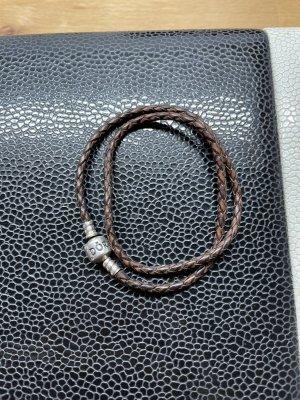 Pandora Lederen armband donkerbruin-bruin