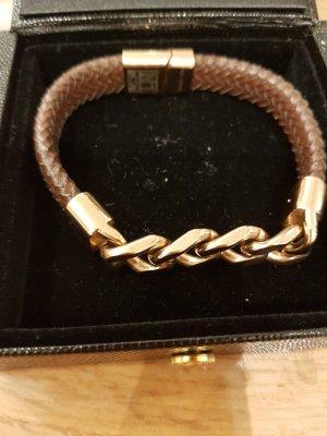 New One Bracelet en cuir or rose-brun