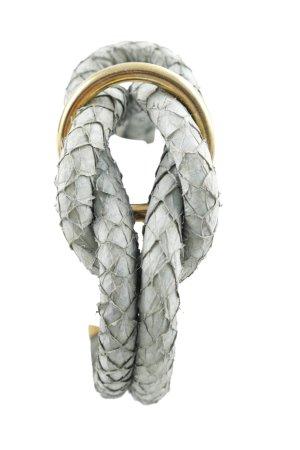 Bracelet en cuir gris vert-doré style extravagant