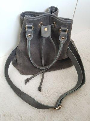 LEDERBEUTEL, grau, Bucket Bag, Glatt- und Rauleder- Mix, Umhängetasche