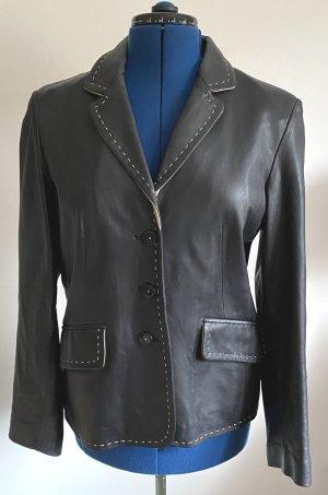 Yorn Leather Blazer black-beige leather