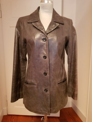 Stefanel Leather Blazer silver-colored-grey
