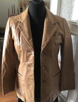 Offset Leather Blazer camel