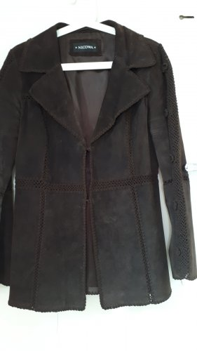 Blazer in pelle marrone scuro Pelle
