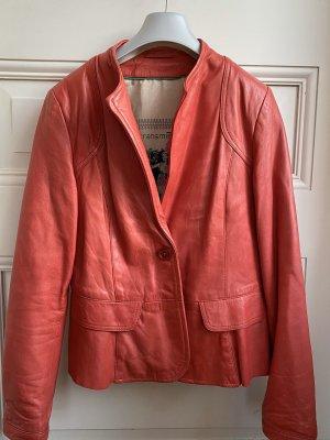Transmission Leather Blazer raspberry-red leather