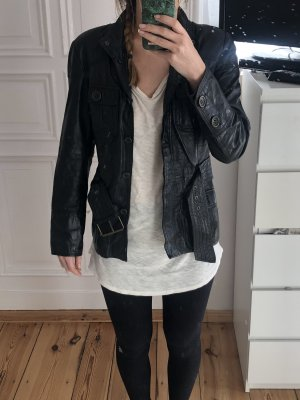 Zara Basic Leather Blazer black leather