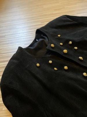 Blazer de cuero negro-color oro Cuero