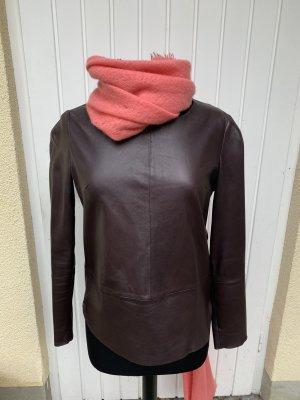Set Blusa de cuero burdeos-rojo amarronado