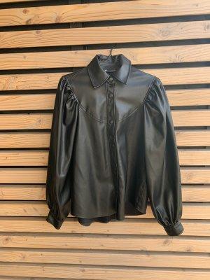 Zara Woman Leather Blouse black