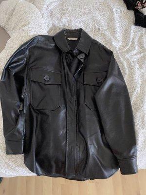 Stradivarius Leather Shirt black