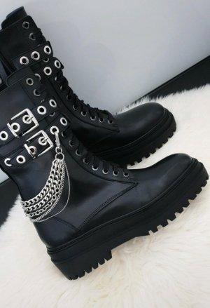 Zara Buty z krótką cholewką na platformie czarny-srebrny Skóra