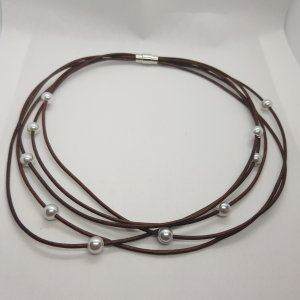 Collier Necklace black brown leather