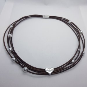Collier Necklace bronze-colored leather