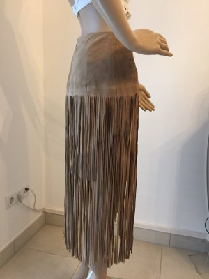 Riani Fringed Skirt grey brown