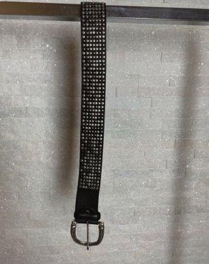 Ralph Gladen Cinturón de cuero marrón-negro-color plata