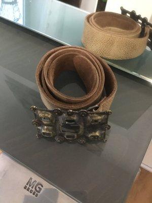 Gin Tonic Cinturón de cuero marrón arena-color oro