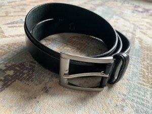 Vintage Cinturón de cuero negro-color plata Cuero