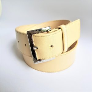 KAREN MILLEN Leather Belt oatmeal-silver-colored leather