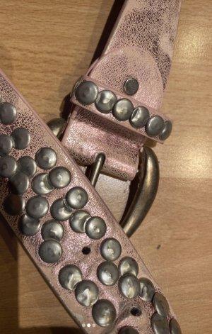 Lederen riem lichtroze-zilver