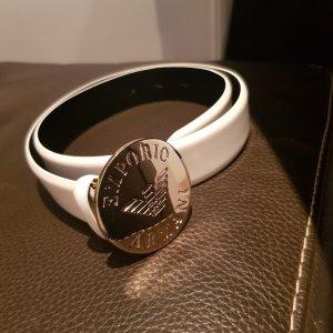 Emporio Armani Cinturón de cuero blanco