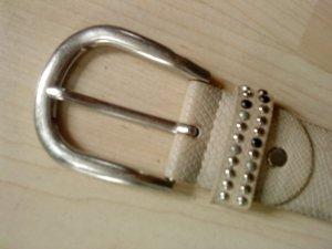 Cinturón de cuero beige claro-color plata Cuero