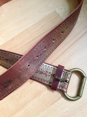 H&M Belt brown-gold-colored leather
