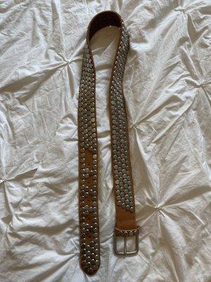 Basefield Cinturón de cuero color plata-coñac