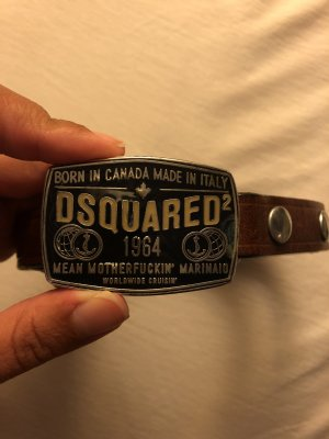 Dsquared2 Leather Belt dark brown-brown