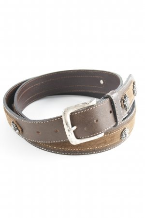 Leather Belt dark brown-brown country style