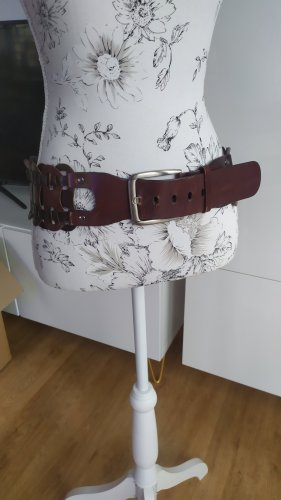 Cinturón trenzado coñac-marrón oscuro Cuero