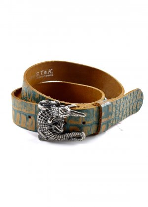 Leather Belt light brown-forest green leather