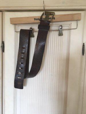 Cinturón de cuero marrón oscuro-color plata
