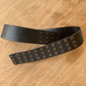 Leather Belt dark brown-bronze-colored leather
