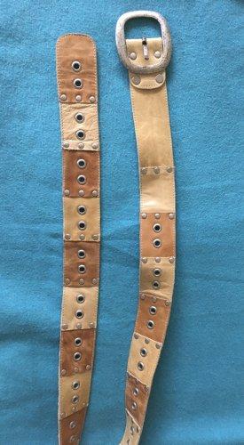 Cinturón de pinchos camel-marrón claro Cuero