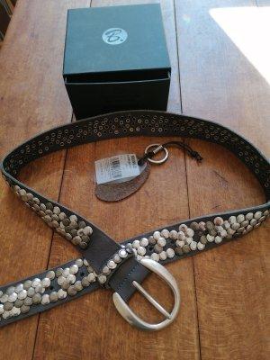 B Belt Cintura di pelle marrone-grigio