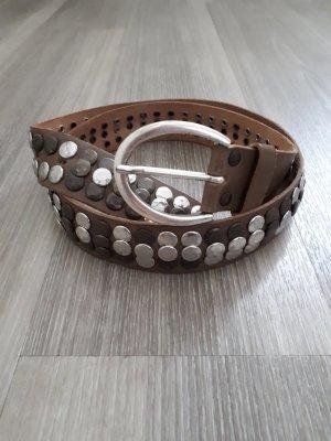 Vanzetti Cintura borchiata marrone-grigio