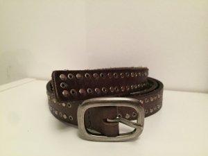 Cowboysbelt Studded Belt dark brown-silver-colored