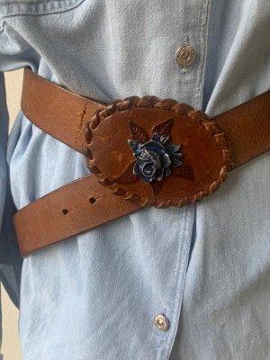 Massimo Dutti Hebilla del cinturón coñac-azul acero