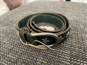 Sam Brown Leather Belt petrol-silver-colored
