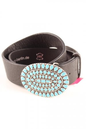 Leather Belt black-turquoise country style