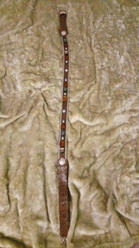 Ledergürtel versilbert mit verschiedenen Steinapplikationen