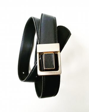 True Vintage Leather Belt dark blue-gold-colored